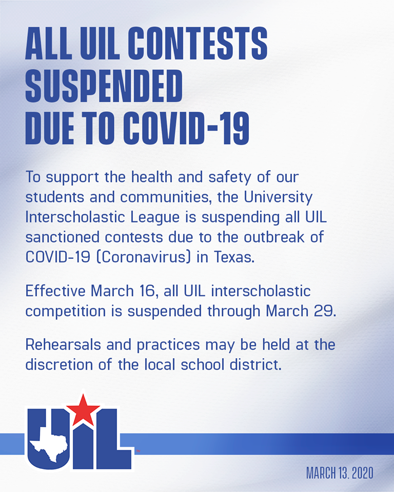 ALL UIL CONTESTS SUSPENDED DUE TO COVID-19