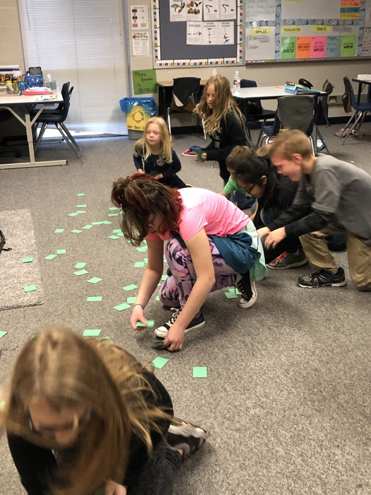 Grasshoppers in 4th grade search for grass before the bunnies, then hawks eat for survival in the food chain.