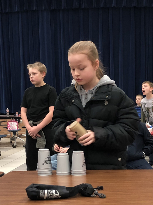 CUP STACKING teams from Gr 2-5 competed at lunch on Wednesday.