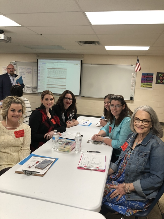 Elementary teachers did a leadership walk at Hawkins Elementary School Thursday morning. The group visited classrooms, shared ideas, and learned about meaningful student engagement.