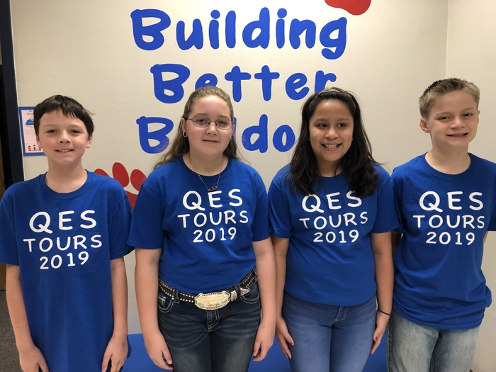 QES TOUR GUIDES are ready to take visitors around the campus this morning. Be sure to come by for coffee and cookies. QES Joins other schools across Texas to observe Texas Public School Week.